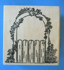 Lg GARDEN GATE w/ ROSES Rubber Stamp