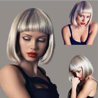 Fashion Women Short Straight Bob Hair Full Wig Silver Cosplay Party Brazilian