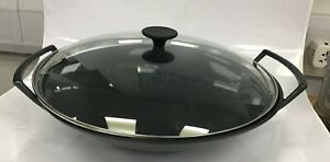 Le Creuset Large Wok Cast Iron With Glass Lid And Iron Base #444
