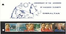(36136) CLEARANCE Gibraltar Queen 40 Years Presentation Pack 1992