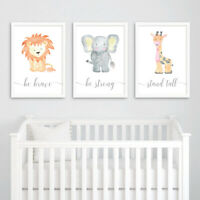 Safari Animal Baby Nursery Art Prints Set Childrens Bedroom Decor Boy Girl Gift