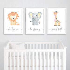 Safari Animal Baby Nursery Art Prints Set Childrens Bedroom Decor Boy Girl Gift