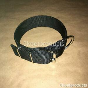 """LARGE DOG COLLAR 2"""" WIDE DOUBLE PLY NYLON HEAVY DUTY PIT BULL COLLAR MADE IN USA"""