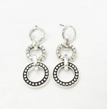 Silver Plated Classic Style 3 Circle Designer Dangle Drop Earrings  # 3074