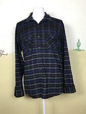 Amongst Friends Mens Size XXL Shirt Striped Flannel Long Sleeve Gray Black