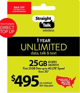 Refill Straight Talk Refill Card $ 495 25GB Lte Unlimited talk,Text,Data 1Year