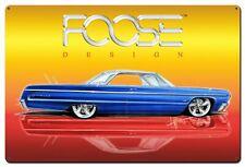 "FOOSE DESIGN 1964 IMPALA BLUE CAR WHITE TOP 36"" HEAVY DUTY USA MADE METAL SIGN"