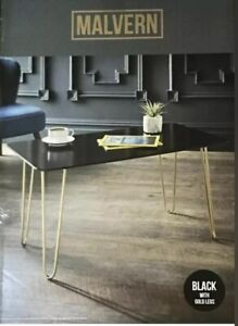 Black Coffee Table With Gold Hairpin Leg Living Room Furniture Rectangle Table