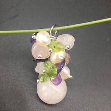 Natural Amethyst Rose Quartz Peridot gemstone FreshWater Pearl Pendant Necklace