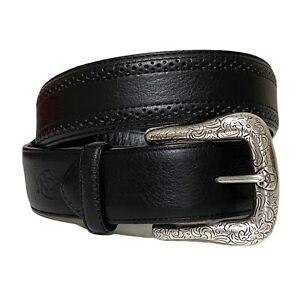 Ariat Leather Belt Mens 36 Black Western Adjustable Tooled Silver Plated Buckle