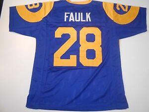 UNSIGNED CUSTOM Sewn Stitched Marshall Faulk Blue Jersey - M, L, XL, 2XL, 3XL