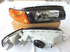 97-02 Mirage Evolution Evo4 IV 4 Black Head Light Amber Corner Mirage Headlights