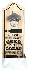 Vintage Retro Wooden Wall Mounted Beer Bottle Opener - Friends