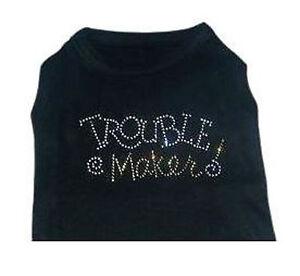 Black Dog Tank Shirt Top Trouble Maker Tee T-Shirt  Pet Shirt