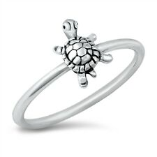 925 Sterling Silver Dainty Sea Turtle Lucky Charm Band Ring Size 4 to 10 NEW