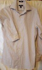 CLAIRBORNE Mens White Gray Stripe  Button Dress Shirt Size14 1/2  32-33  GLOBAL