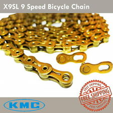 KMC X9SL Bicycle Chain 9 Speed Titanium Super Light (Gold) - MTB / Road Bike NEW