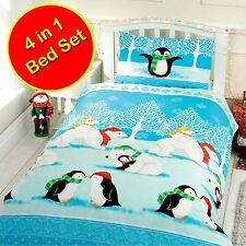 CHRISTMAS CUDDLES 4 IN 1 JUNIOR BEDDING BUNDLE SET - DUVET, PILLOW AND COVERS