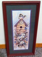 Homco Home Interiors Picture 21.5 x 11.5 Birdhouse Blue Bird Joy Alldridge Vgc