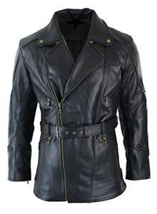 Mens Black 3/4 Motorcycle Biker Long Cow Hide Leather Jacket