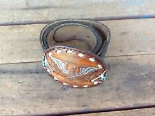 """Vintage Top Grain Leather Belt with Fort Worth """"Eagle"""" Leather Buckle - Usa"""