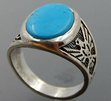 DAKOTA STERLING SILVER MENS TURQUOISE RING THUNDER BIRD