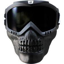 Birdz Skullbird Black Powersports Motorcycle Goggles with Face Mask  Smoke Lens