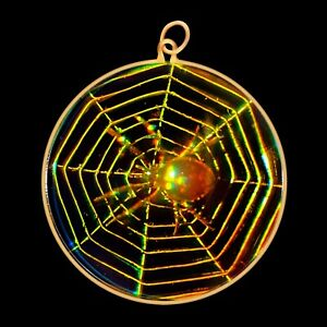9ct Gold Hologram Pendant - Spiders Web (Large) - No Chain