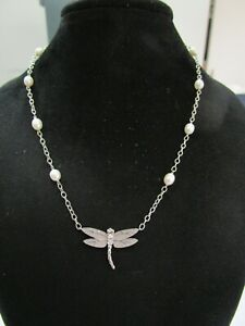 """Tiffany & Co Dragonfly Pearl & Diamond Necklace 16"""" .08Ct"""