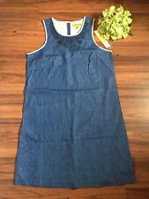 NWT Sigrid Olsen Signature Denim Jean Shirt Dress Linen Artisan Detail Blue 6