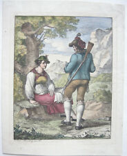 Josef Anton Rhomberg (1786-1855) Jäger Bäuerin Kreidelithografie Inkunabel 1817