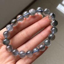 9.6mm Rare Natural Blue Rabbit hair Quartz Crystal Round Beads Bracelet AAAA