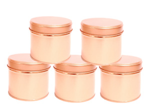 5x Round Candle Tin Rose Gold 250ml Metal Tin For WAX Soy Making Container Jars