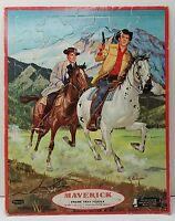 Vtg 1960 Frame Tray Puzzle Maverick Al Andersen Whitman Western Decor 11.5x14.5