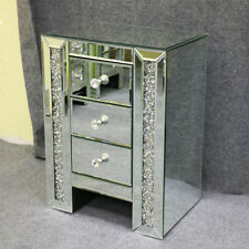 Anjohn Mirrored Furniture Diamonds Glass 3 Drawer Bedside Cabinet Table Bedroom 1