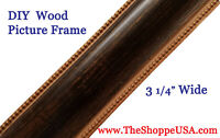 "DIY CUSTOM CUT 3 1/4"" WIDE Italian Black Gold Wood Picture Frame Moulding"
