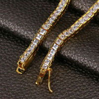 "7.00 Ct Princess Cut VVS1 Diamond Tennis Bracelet 14k Yellow Gold Over 7.25"""