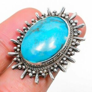 Tibetan Turquoise Gemstone 925 Sterling Silver Jewelry Ring Size 6.5 z748