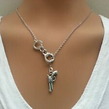 Dainty And Delicate Silver Handcuffs and Gun Neckless & Bracelet  Jewellery