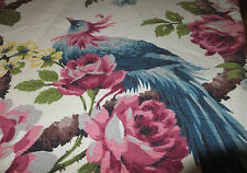 40's Barkcloth nice Tropical feathered blueBird 45x70 bungelow/cottage Hollywood