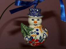 Polish Pottery Snowman with Tree  Ornament! UNIKAT Signature Rembrandt!