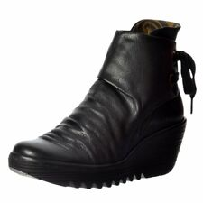 Fly London Yama Women's Aw16 Black Leather Wedge Heel Lace Back Ankle BOOTS UK 7 (eu Size 40)