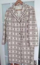 Ladies Vintage 1960`s 70`s Welsh Wool Tapestry Tweed Overcoat Cream Ivory Brown