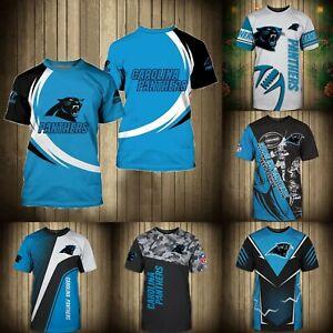 Carolina Panthers T Shirt Men's Summer Crew Neck Shirts Short Sleeve Tees S-5XL