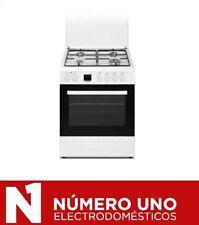 Cocina a Gas HVG 60, 4 fuegos, horno eléctrico, acabado blanco