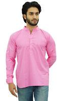 Atasi Ethnic Men's Short Kurta Baby Pink Mandarin Collar Cotton Shirt