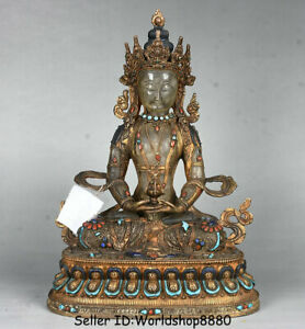 "12.8"" Old Tibet Crystal Copper 24K Gilt turquoise Amitayus longevity God Statue"