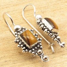 ! Silver Plated Over Solid Copper Natural Tiger'S Eye Gem Antique Style Earrings