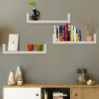 NOVPEAK 3 Floating Display U Shelves Ledge Bookshelf Storage Wall Mount Hook