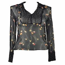 db290dce5ce04 ECI New York Silk Blouse Black Sheer Bead Size Large Floral Dot 3 4 Sl
